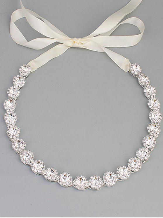 shops Sparkly Rhinestone Wedding Ribbon Hair Accessory - SILVER