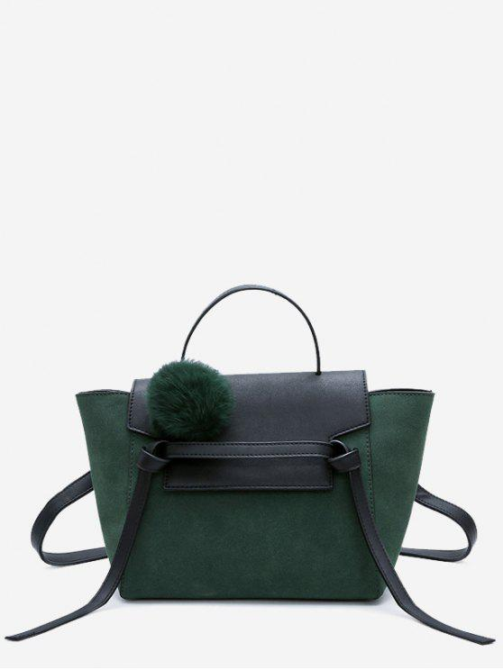 women Pompom Color Blocking PU Leather Crossbody Bag - GREEN