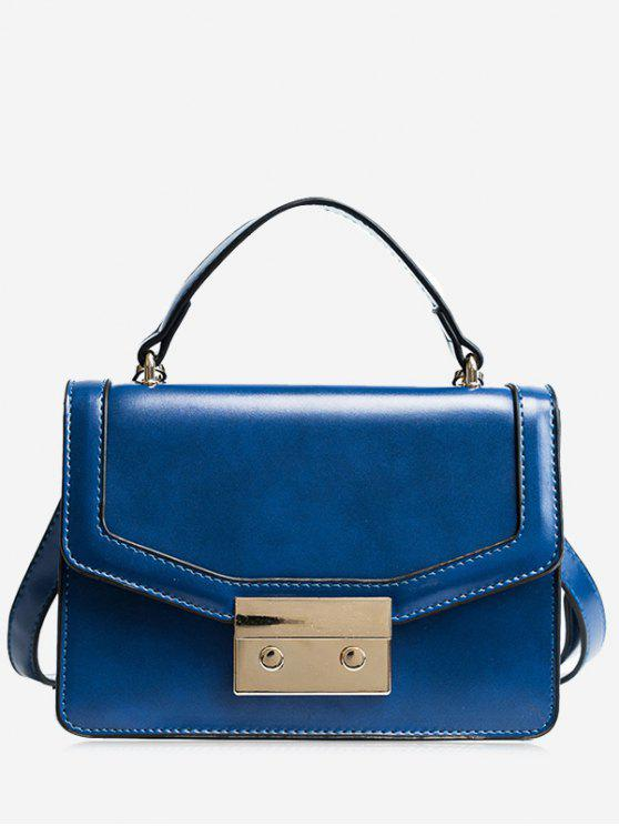 ladies Metal Embellishing Solid Crossbody Bag - BLUE