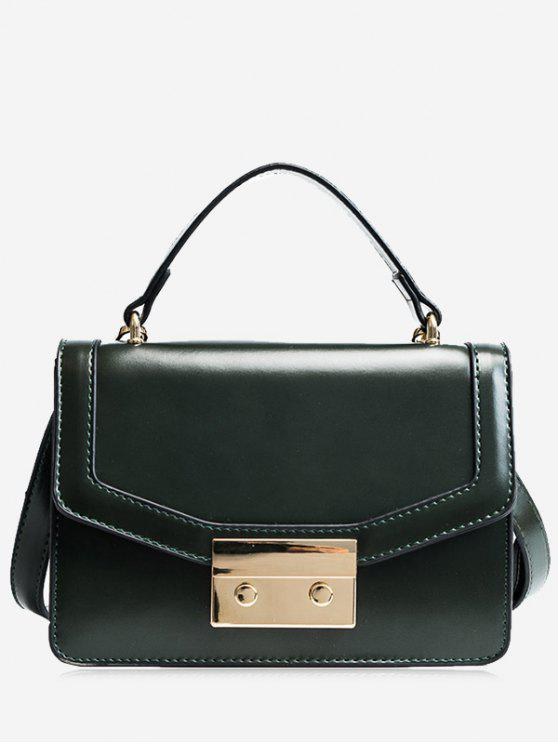 Metal Embellishing Solid Crossbody Bag - Verde