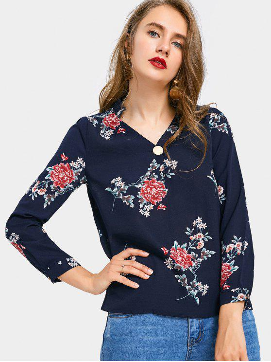 latest V Neck Floral Print Chiffon Blouse - PURPLISH BLUE L