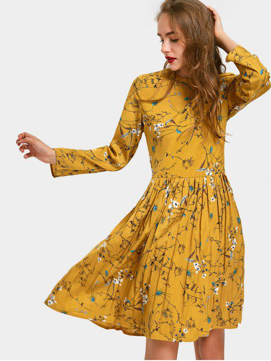 fashion Floral Print Long Sleeve Pleated Dress - GINGER L