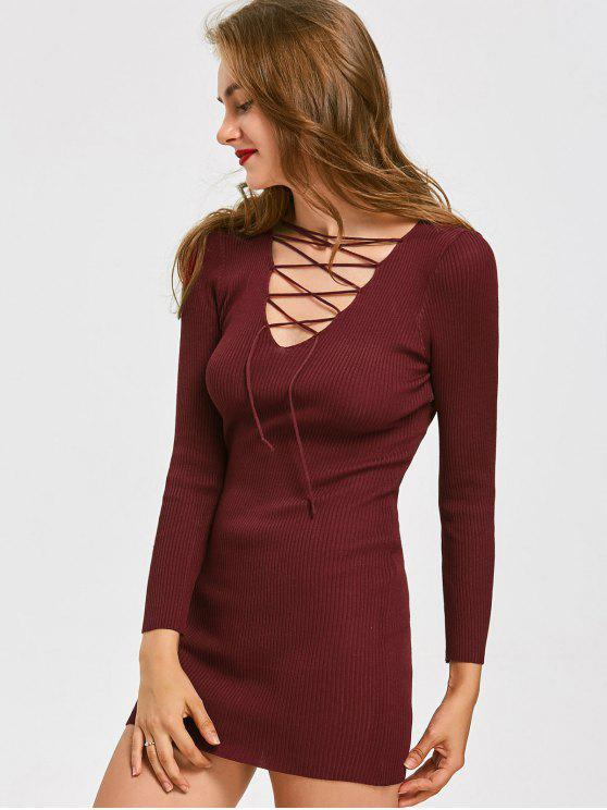 hot Lace Up Ribbed Mini Knitted Dress - DEEP RED ONE SIZE