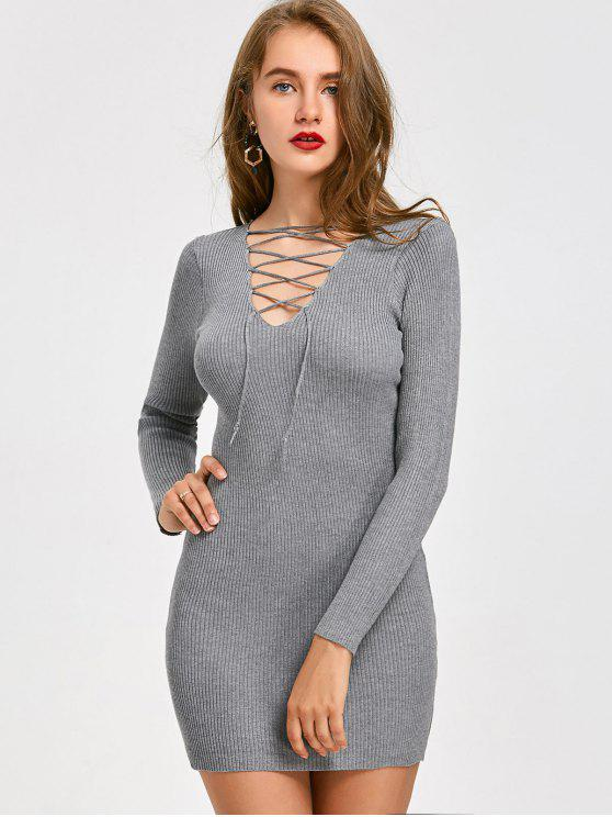 shop Lace Up Ribbed Mini Knitted Dress - GRAY ONE SIZE