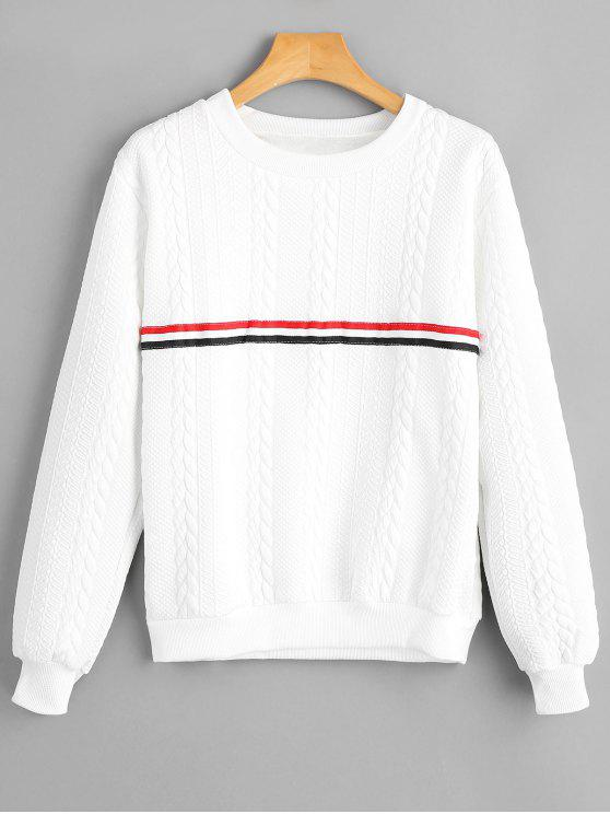 ladies Stripe Panel Braided Pattern Sweatshirt - WHITE M