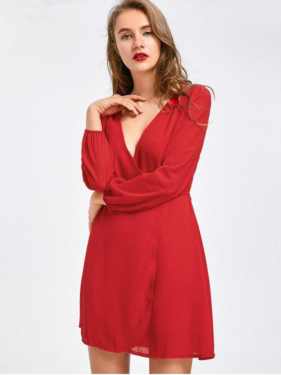 outfit Plunging Neck Mini Chiffon Dress - RED M