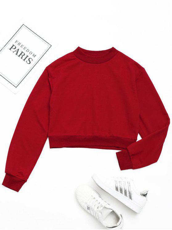 latest Crew Neck Crop Sweatshirt - RED S