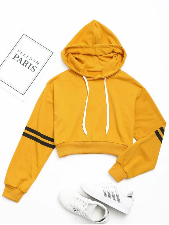women Striped Sleeve Crop Hoodie - MUSTARD S