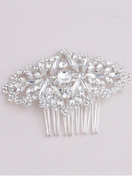 fancy Sparkly Rhinestoned Bridal Hair Comb - WHITE