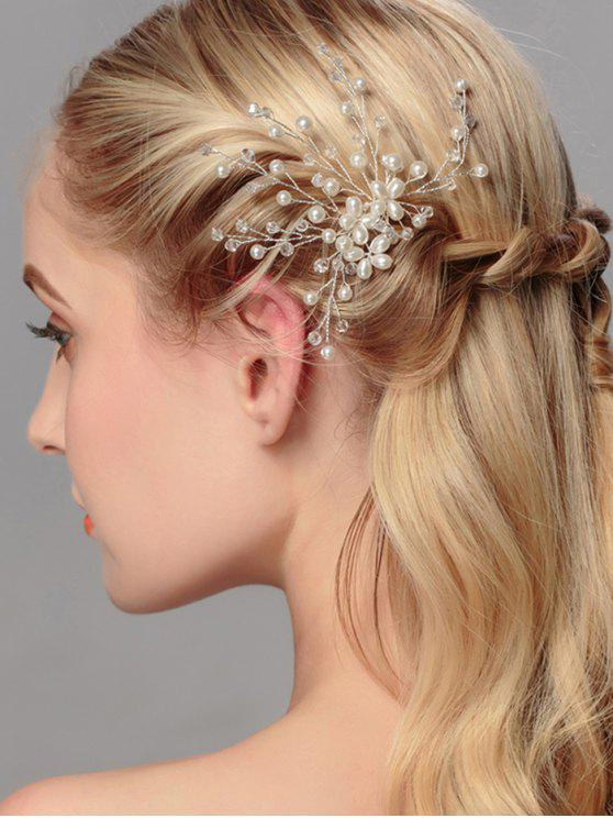 women Artificial Pearl Tree of Life Wedding Hairpin - WHITE