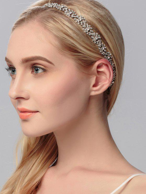 Sparkly Rhinestoned Wedding Elastic Hair Band - Plata