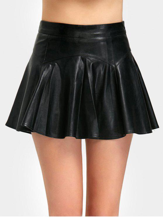 بنطلون تنورة بجلد اصطناعي مصغر مطوي - أسود S