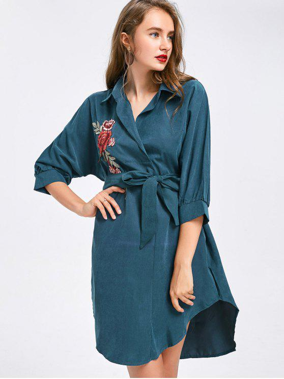 shop Floral Patched Belted High Low Shirt Dress - BLUE GREEN XL
