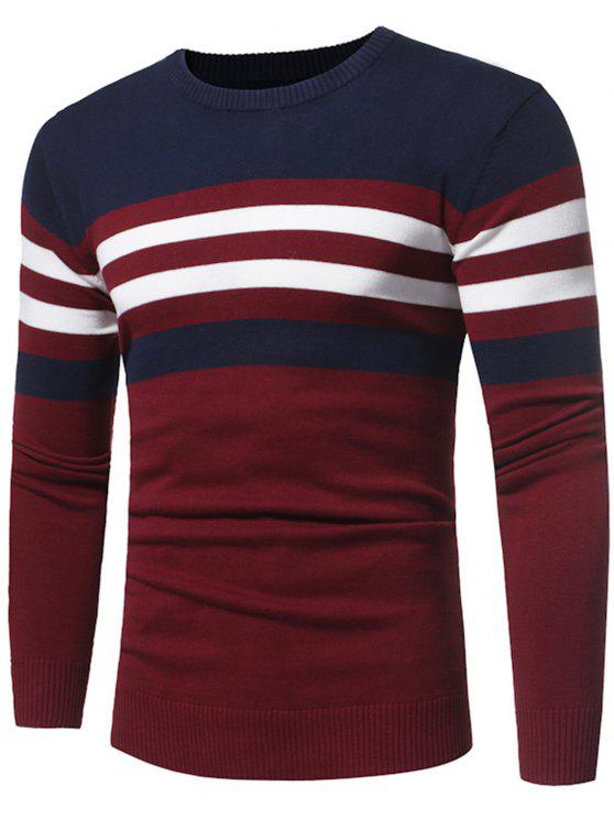 hot Crew Neck Color Block Stripe Panel Knitted Sweater - CLARET 3XL