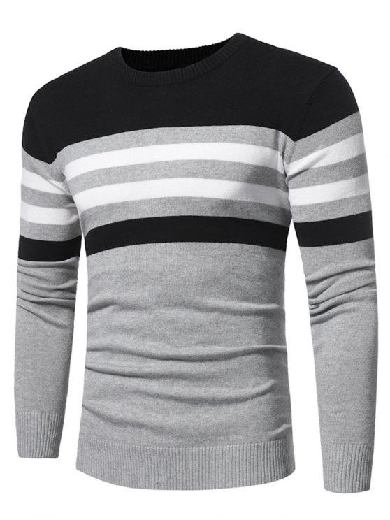 ffb2df8ef9c3 63% OFF  2019 Crew Neck Color Block Stripe Panel Knitted Sweater In ...