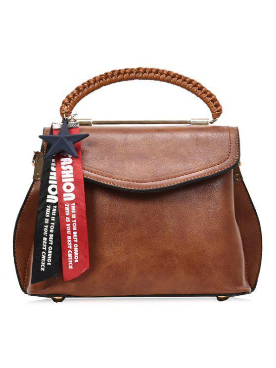جديلة قلادة نجمة إلكتروني حقيبة كروسبودي - BROWN