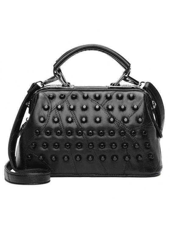 مبطن خياطة المسامير حقيبة يد - أسود