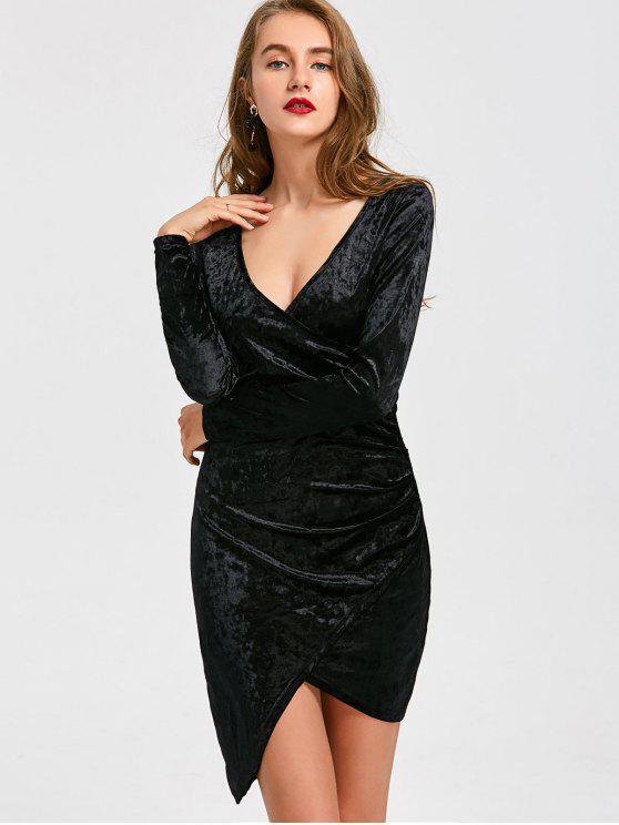 sale Plunging Neck Velvet Asymmetric Dress - BLACK L
