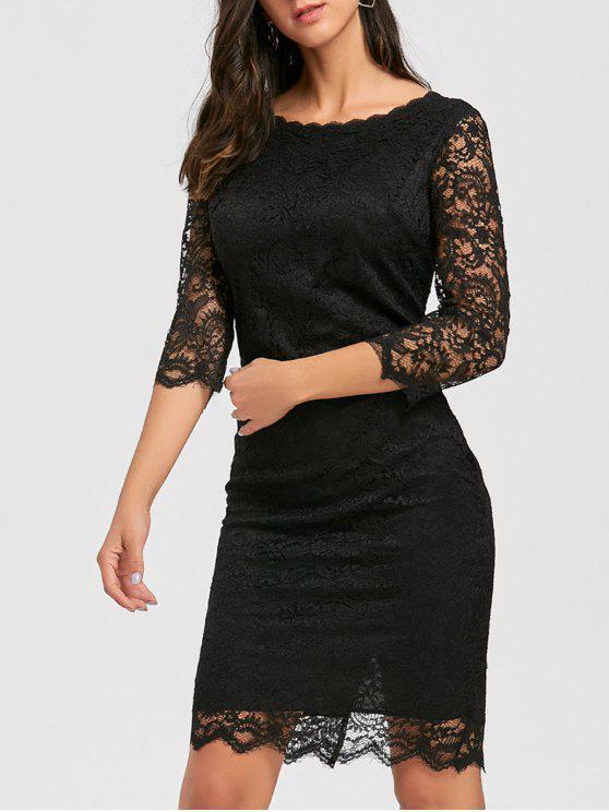 فستان ضيق مصغر دانتيل - أسود 2XL