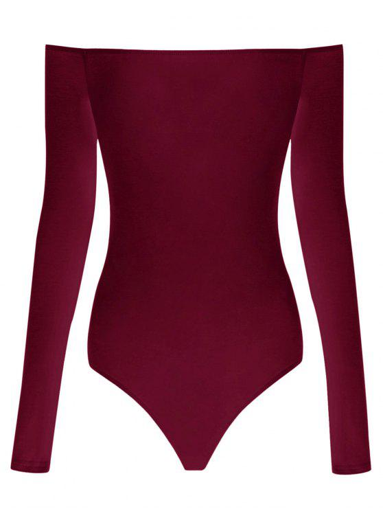 buy Long Sleeve Off The Shoulder Bodysuit - WINE RED XL