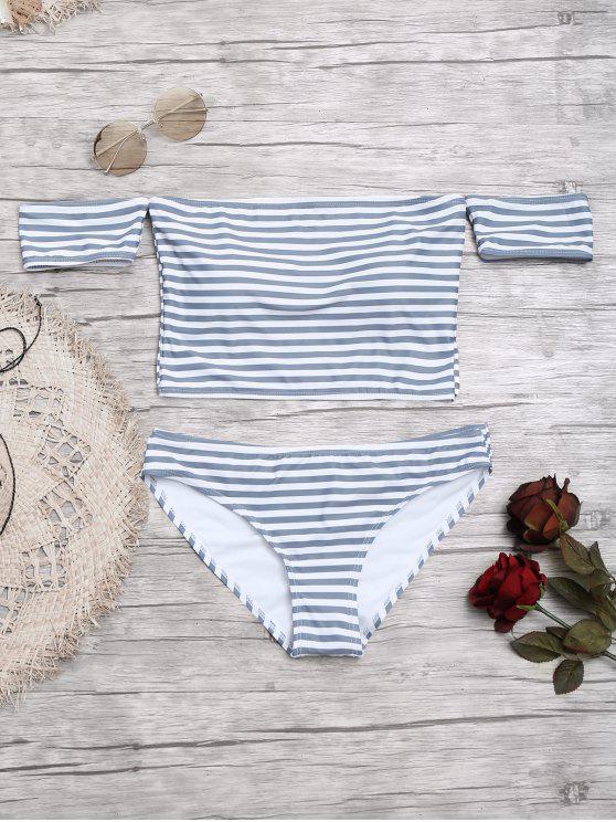 Kurzärmliger schulterfrei gestreifter Bikini - Grau & Weiß L