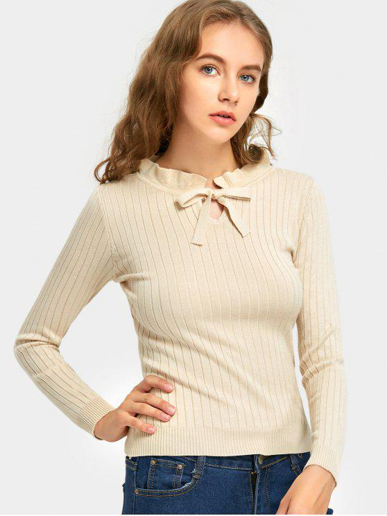 online Ruffle Bow Tie Neck Ribbed Knitted Sweater - BEIGE ONE SIZE