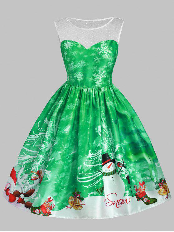 fashion Christmas Snowman Snowflake Mesh Panel Dress - GREEN M
