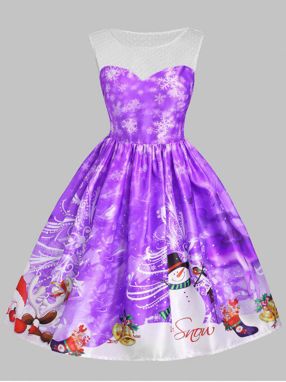 buy Christmas Snowman Snowflake Mesh Panel Dress - PURPLE 2XL
