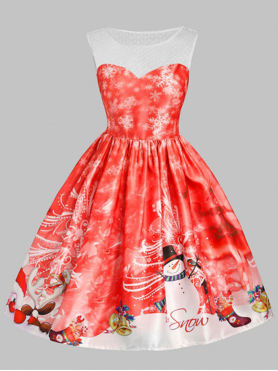 trendy Christmas Snowman Snowflake Mesh Panel Dress - RED S