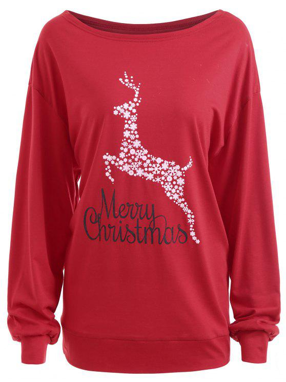 Plus Size Frohe Weihnachten Floral Deer Graphic T-Shirt - Rot 3XL