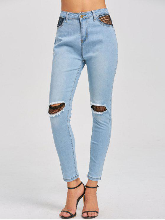 acbf269c0a1 35% OFF] 2019 Fishnet Insert High Waist Distressed Jeans In LIGHT ...