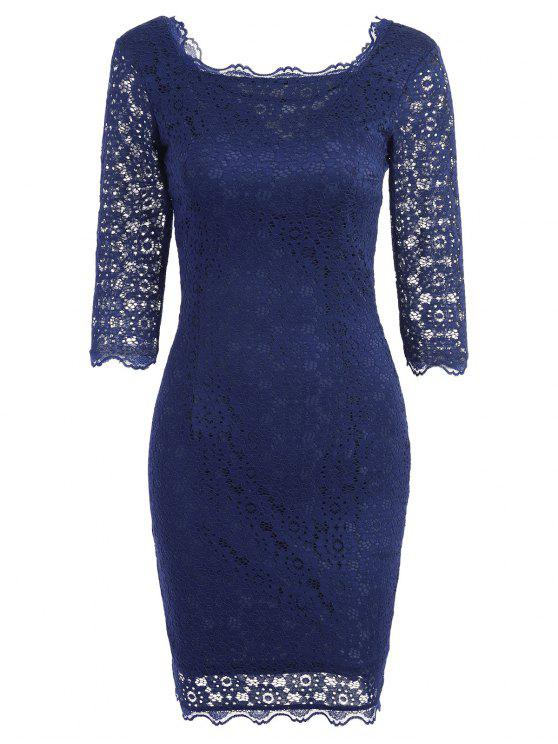 Ausgeschnittene Spitze figurbetontes Partykleid - Schwarzblau 2XL