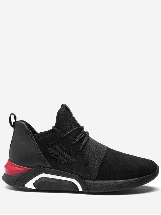 shop Colorblocked Elastic Band Breathable Athletic Shoes - FULL BLACK 43