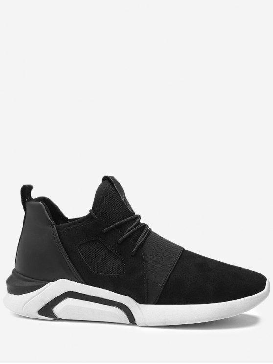 Chaussures athlétiques respirantes à bande élastique colorblocked - Blanc-Noir 39