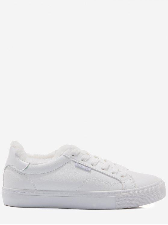 trendy Faux Fur Warm Round Toe Low Top Sneakers - WHITE 35
