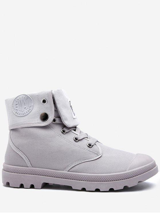 Botas de tornozelo de lona dobrada Toe Redondo - Cinza 43