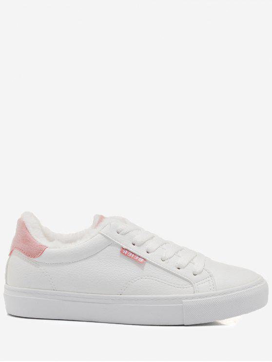 Faux Fur warme runde Form Niedrige Sneakers - Pink 40