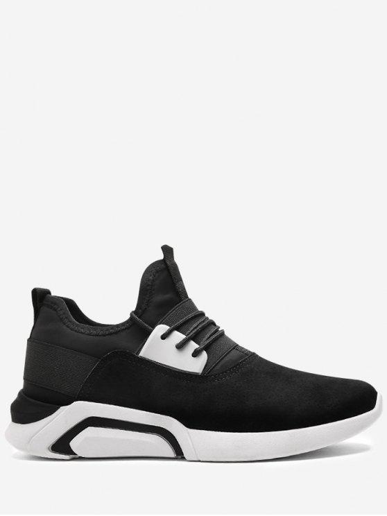 Lace Up Elastic Band Suede Athletic Shoes - Preto Branco 43