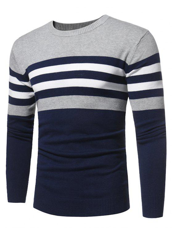 trendy Crew Neck Color Block Stripe Panel Knitted Sweater - DEEP BLUE 2XL