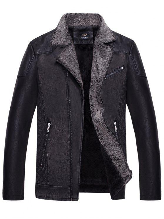 latest Turndown Collar Pleat Zip Up Fleece PU Leather Jacket - BLACK XL