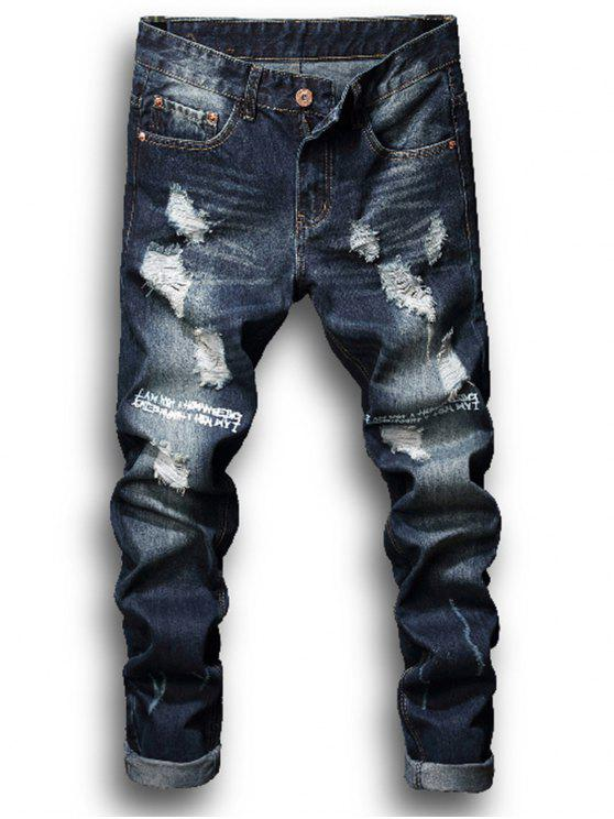 Zipper Fly Graphic Print Bleached Ripped Jeans - Azul Denim 34