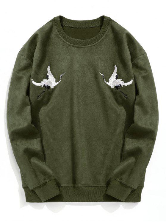 women Crane Embroidered Suede Sweatshirt - ARMY GREEN XL