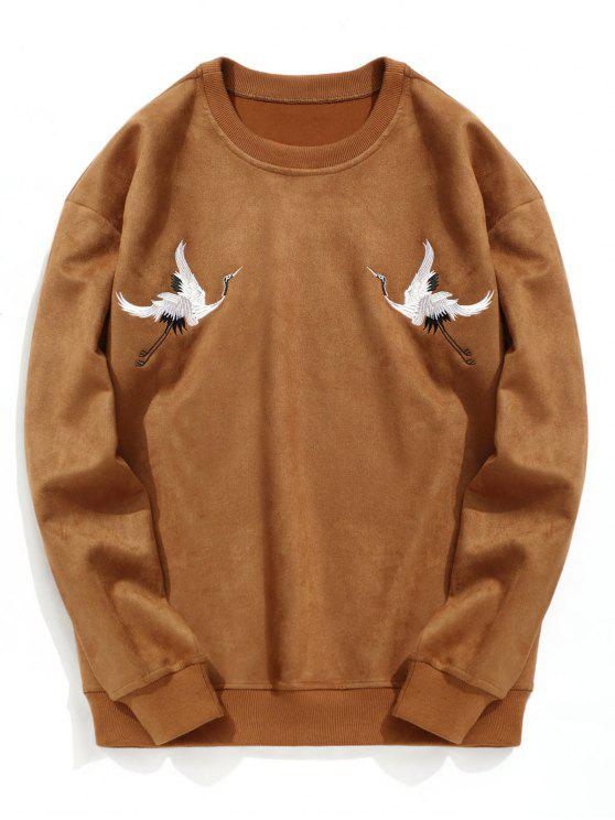 chic Crane Embroidered Suede Sweatshirt - BROWN L