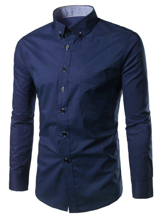قميص سليم صالح زر أسفل عارضة - الأرجواني الأزرق L