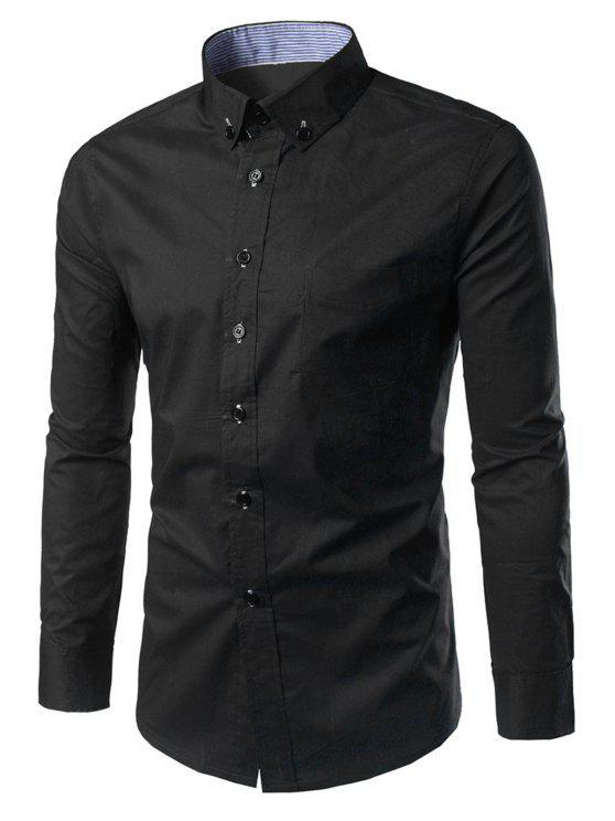 Slim Fit Button Down Casual Shirt BLACK: Shirts M | ZAFUL
