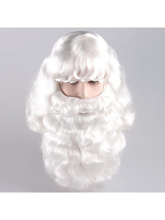طويل الجانب بانغ أشعث مجعد سانتا كلوز تأثيري الباروكة مع اللحية - أبيض
