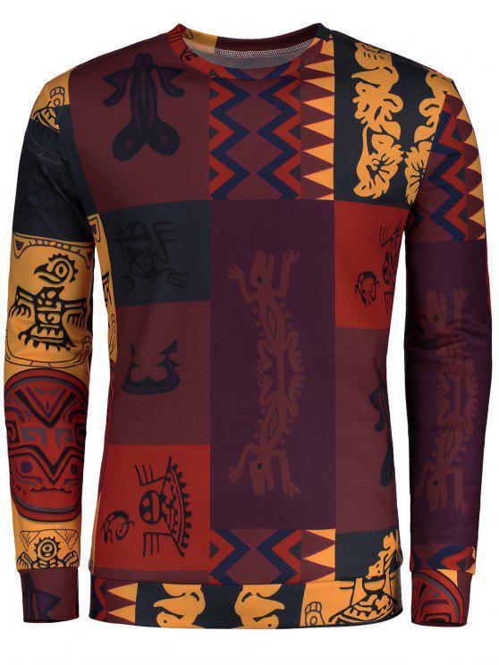 T-shirt Imprimé Totem Ethnique à Manches Longues - Multicolore 2XL