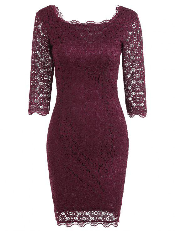 Cut Out Lace Bodycon Party Dress - Rouge vineux  S