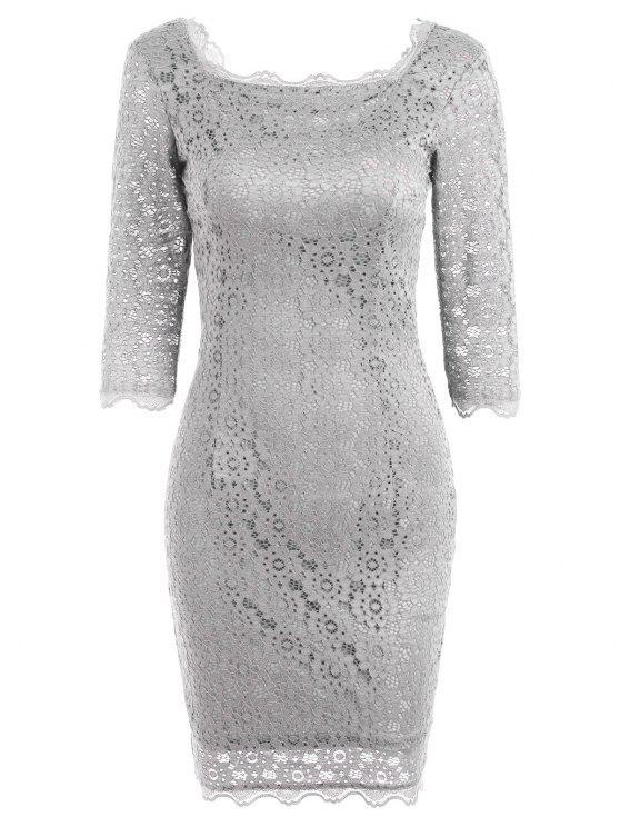 Robe de Soirée Moulante avec Découpes en Dentelle - Gris Clair M