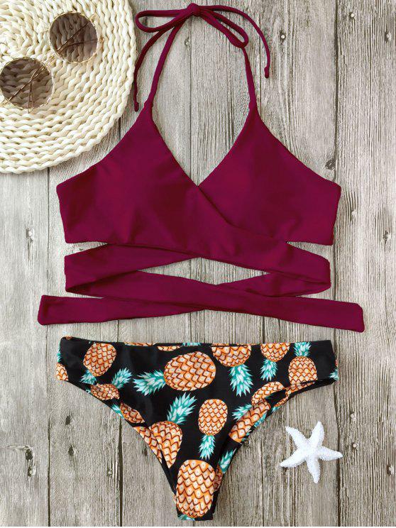 women's Halter Pineapple Print Wrap Bikini - BURGUNDY S